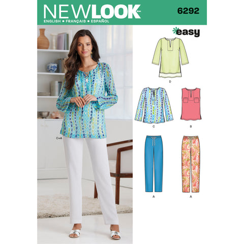 New Look Sewing Pattern 6292 - Misses' Tunic or Top and Pull-on Pants