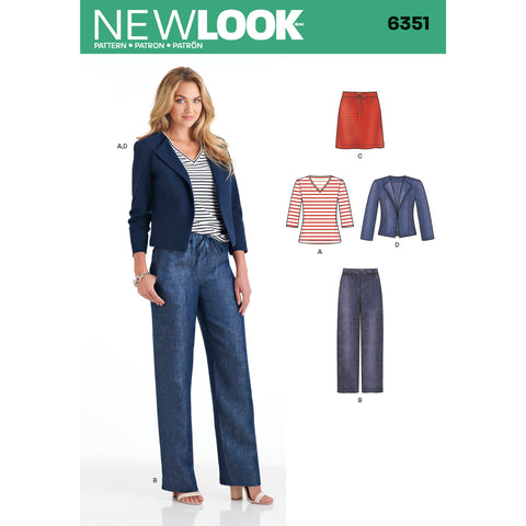 New Look Sewing Pattern 6351 - Misses' Jacket, Pants, Skirt and Knit Top