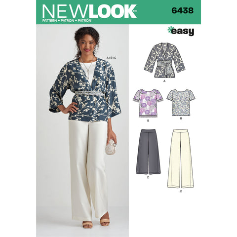 New Look Sewing Pattern 6438 - Misses' Easy Pants, Kimono, and Top