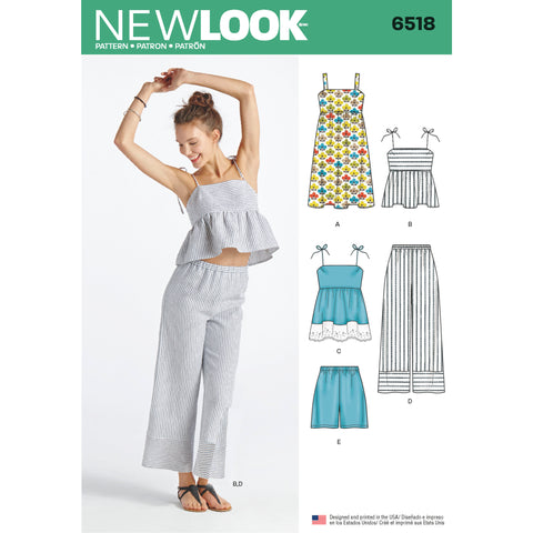 New Look Sewing Pattern 6518 - Women's Dress, Tops in Two Lengths, Pants, and Shorts