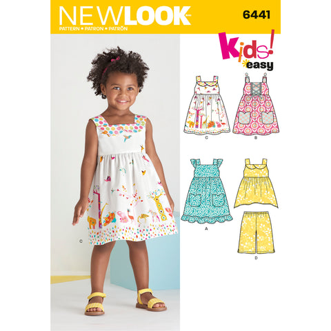 New Look Sewing Pattern 6441 - Toddlers' Easy Dresses, Top and Cropped Pants
