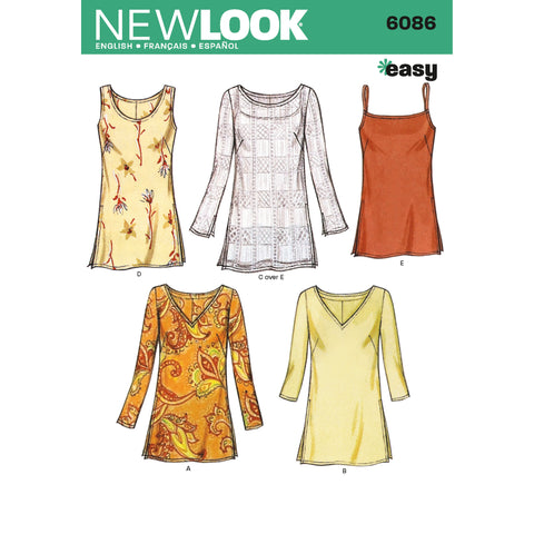 New Look Sewing Pattern 6086 - Misses Tops