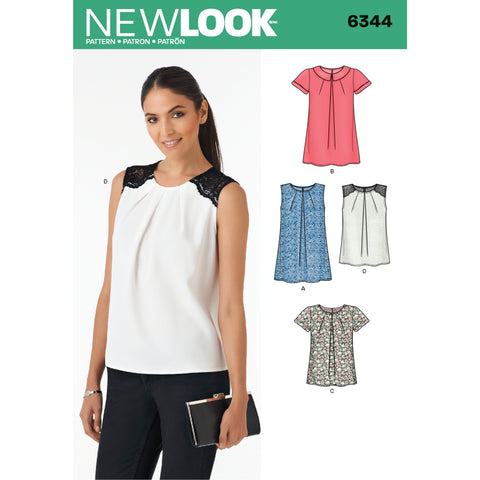 New Look Sewing Pattern 6344 - Misses' Tops in Two Lengths