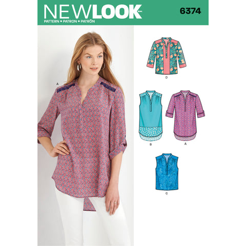 New Look Sewing Pattern 6374 - Misses' Shirts with Sleeve and Length Options