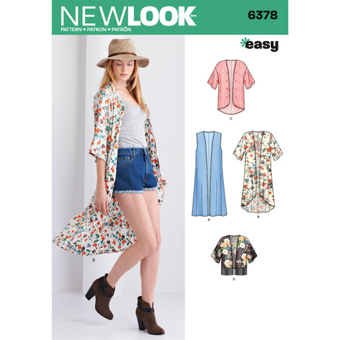New Look Sewing Pattern 6378 - Misses' Easy Kimonos with Length Variations