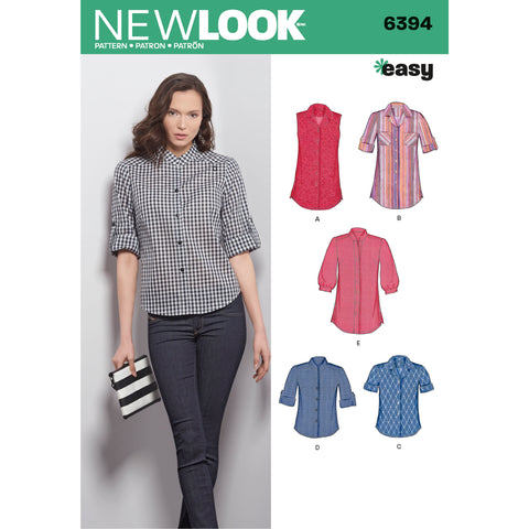 New Look Sewing Pattern 6394 - Misses' Button Front Tops