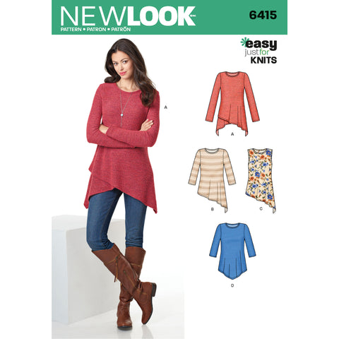 New Look Sewing Pattern 6415 - Misses' Knit Tunics