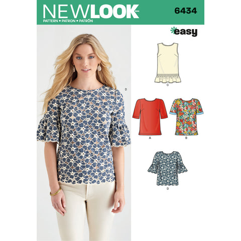New Look Sewing Pattern 6434 - Misses' Tops with Fabric Variations