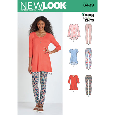 New Look Sewing Pattern 6439 - Misses' Knit Tunics with Leggings