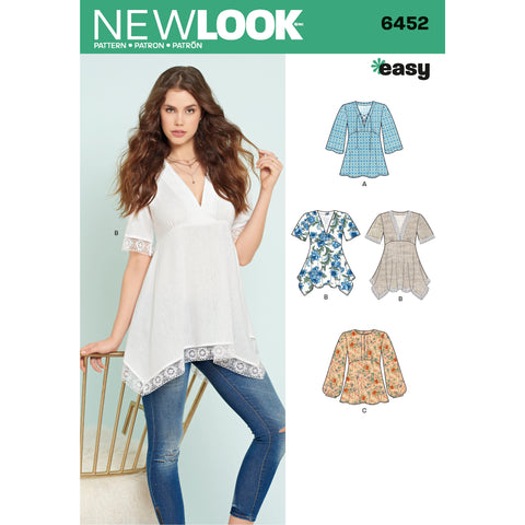 New Look Sewing Pattern 6452 - Misses' Tops with Bodice and Hemline Variations