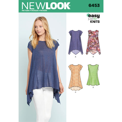 New Look Sewing Pattern 6453 - Misses' Easy Knit Tops