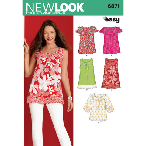 New Look Sewing Pattern 6871 - Misses Tops