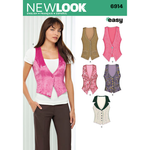 New Look Sewing Pattern 6914 - Misses Vests