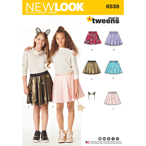 New Look Sewing Pattern 6539 - Tween Skirts with Ears Headband