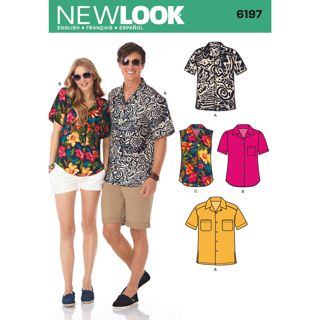 New Look Sewing Pattern 6197 - Misses' and Men's Shirts