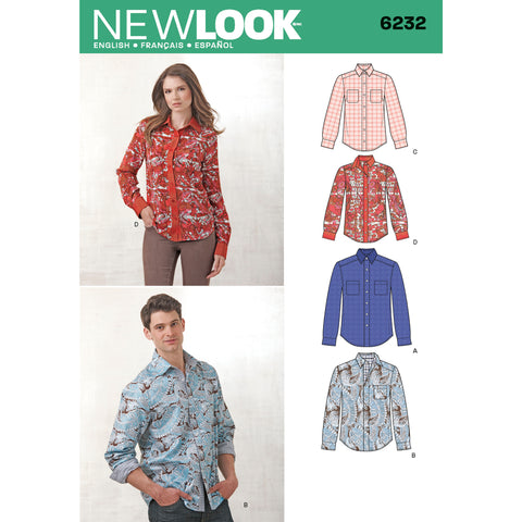 New Look Sewing Pattern 6232 - Misses' and Men's Button Down Shirt