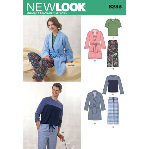 New Look Sewing Pattern 6233 - Unisex Pants, Robe and Knit Tops