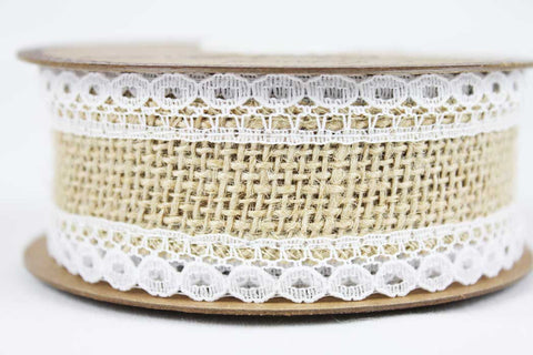 35mm Lace-Edged Hessian Ribbon