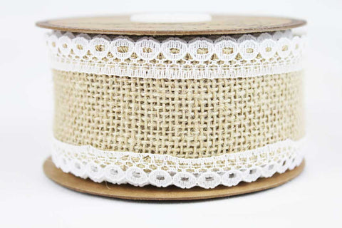 50mm Lace-Edged Hessian Ribbon