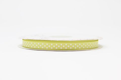 9mm Pale Lemon Polka Dot Ribbon