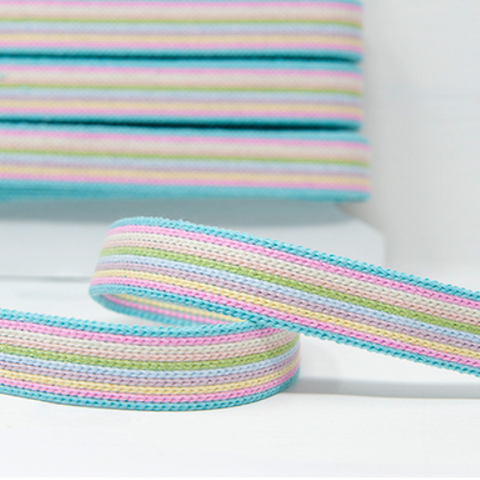 25mm Webbing - Pastel Rainbow Stripe