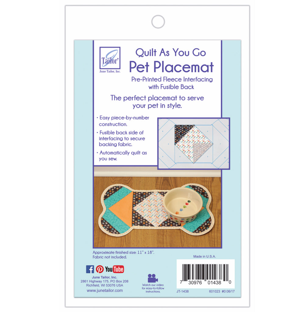 June Tailor Quilt-As-You-Go Bone Pet Placemat Pre-Printed Wadding Pack
