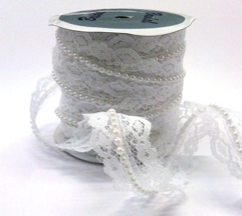 20mm White Beaded Lace Ribbon