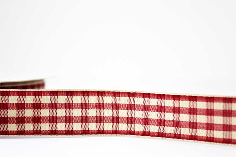 20mm Red Gingham Ribbon