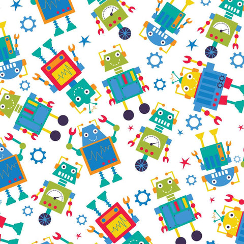The Craft Cotton Co Robot Dreams - Robots White - 100% Cotton Fabric