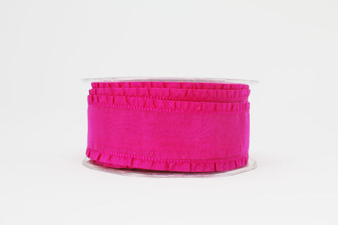38mm Fuchsia Ruffle Edge Wired Ribbon