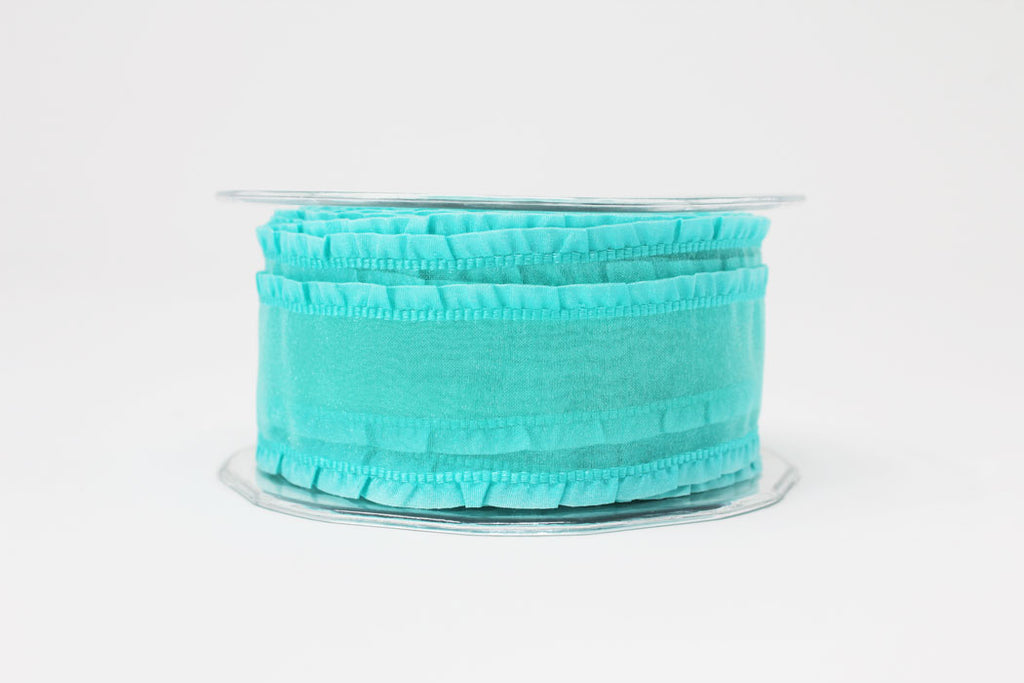 38mm Turquoise Ruffle Edge Wired Ribbon