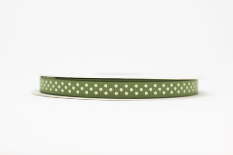 9mm Sage Polka Dot Ribbon