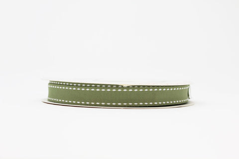 13mm Stitched Edge Ribbon - Soft Sage