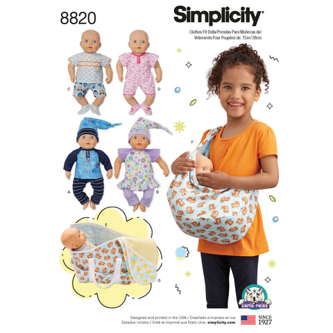 "Simplicity Sewing Pattern 8820 - 15"" Baby Doll Clothes"