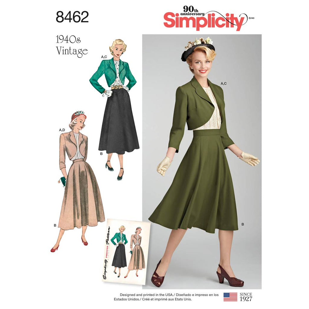Simplicity Sewing Pattern 8462 - Women's Vintage Blouse, Skirt and Lined Bolero