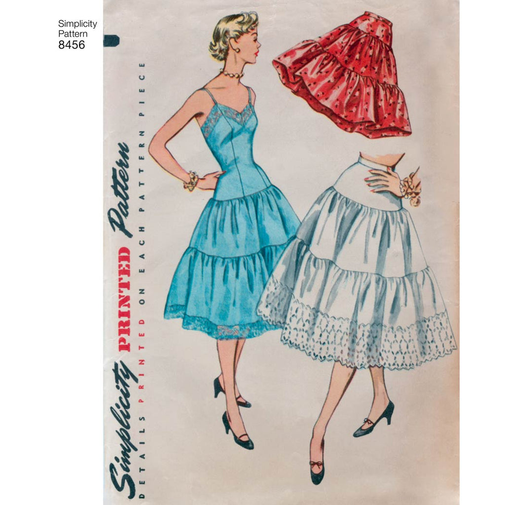 Simplicity Sewing Pattern 8456 - Women's Vintage Petticoat and Slip