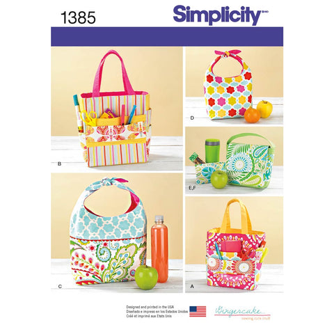 Simplicity Pattern 1385 - Art Caddies, Lunch Bags and Snack Bag