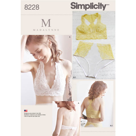 Simplicity Sewing Pattern 8228 - Women's Soft Cup Bras and Panties