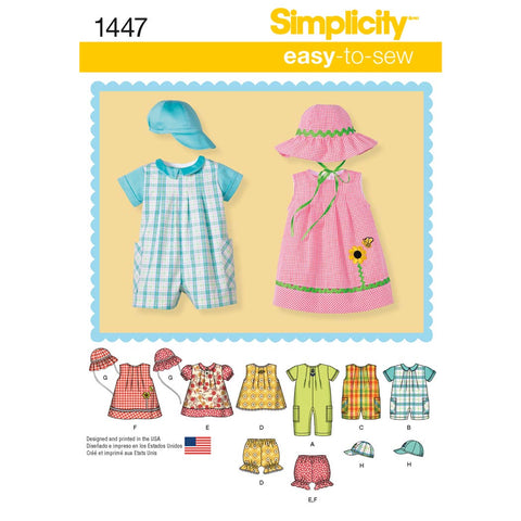 Simplicity Sewing Pattern 1447 - Babies' Romper, Dress, Top, Panties and Hats