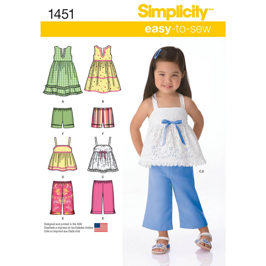 Simplicity Sewing Pattern 1451 - Toddlers' Dresses, Top, Cropped Trousers and Shorts