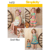 "Simplicity Sewing Pattern 1472 - Toddlers' Romper, Dress, Top, Trousers & 18"" Doll Dress"