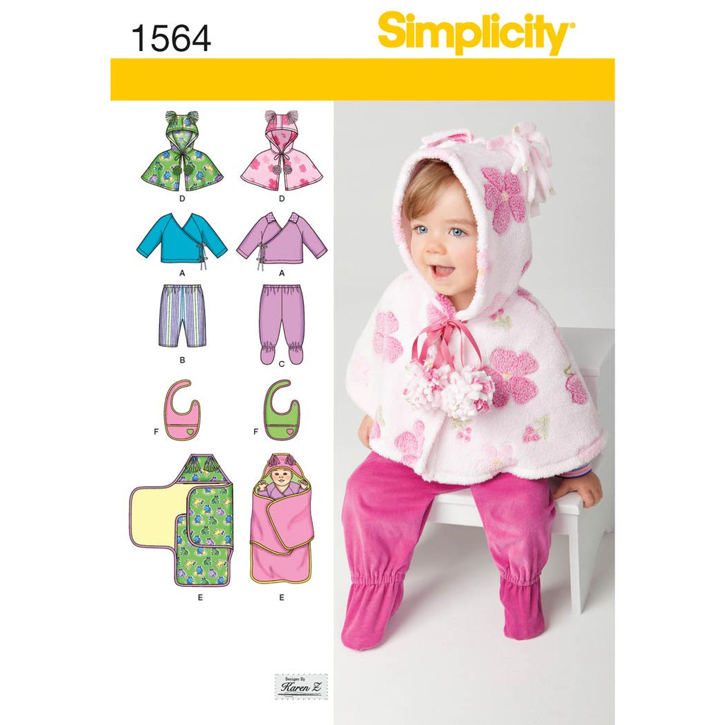 Simplicity Sewing Pattern 1564 - Babies' Top, Trousers, Bib, and Blanket Wrap