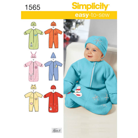 Simplicity Sewing Pattern 1565 - Babies' Bunting, Romper and Hats