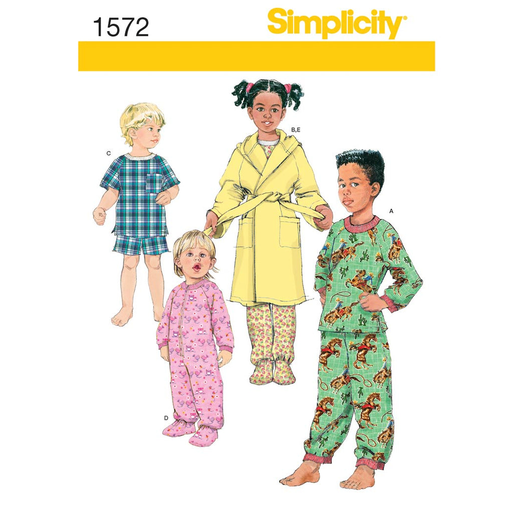 Simplicity Sewing Pattern 1572 - Toddlers' and Child's Sleepwear and Robe