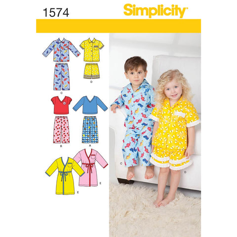 Simplicity Sewing Pattern 1574 - Toddlers' Loungewear