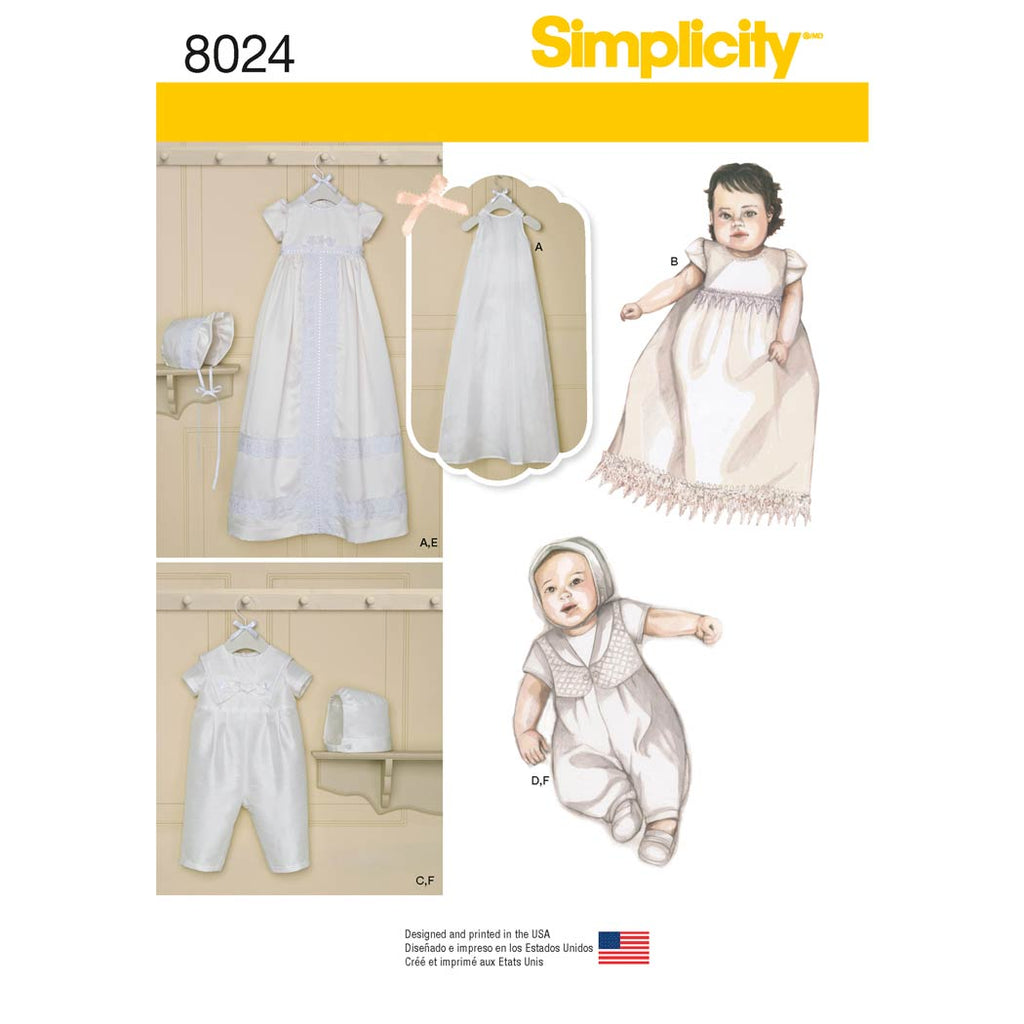 Simplicity Sewing Pattern 8024 - Babies' Christening Sets with Bonnets