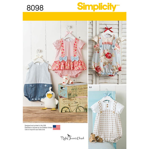 Simplicity Sewing Pattern 8098 - Babies' Rompers, Sandals, and Stuffed Duck