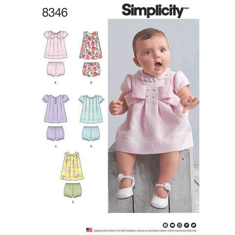 Simplicity Sewing Pattern 8346 - Babies' Dress and Panties