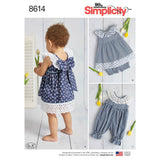 Simplicity Sewing Pattern 8614 - Babies' Dress, Romper and Panties