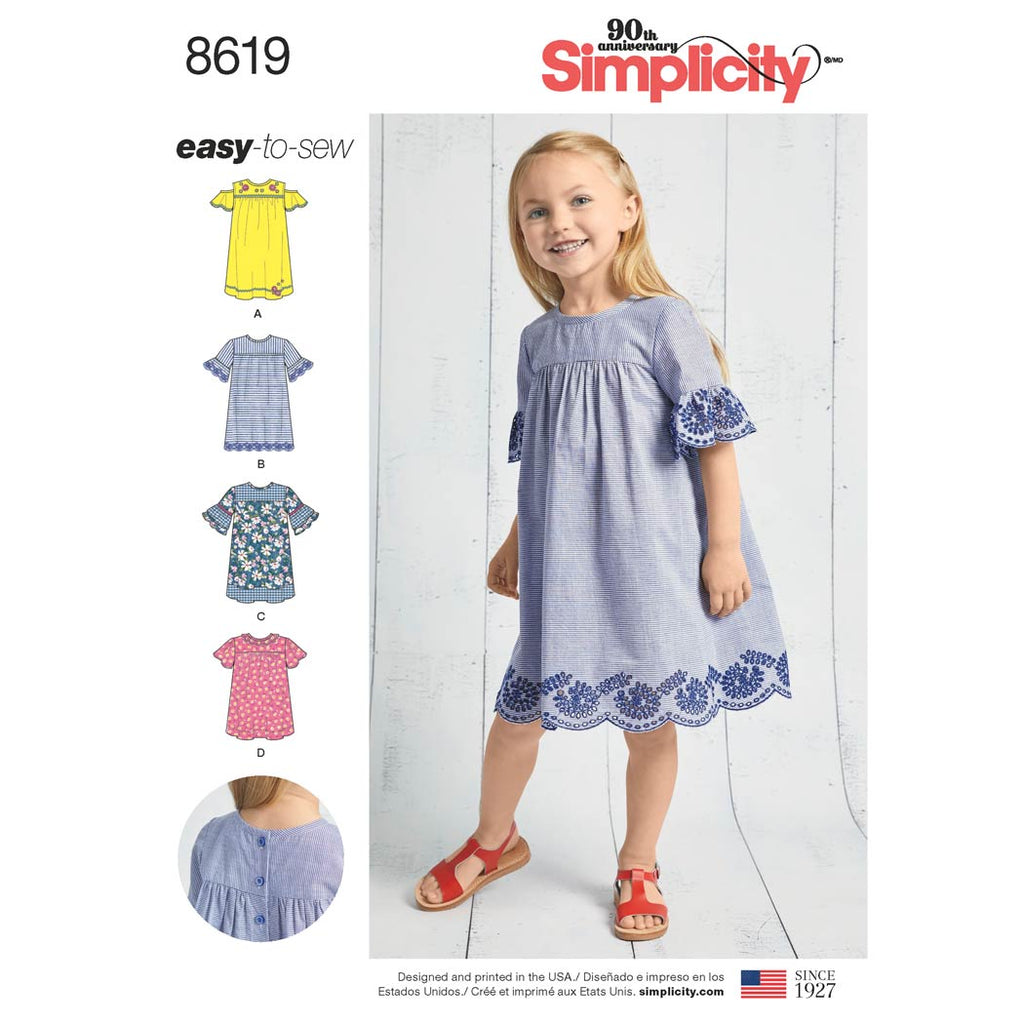 Simplicity Sewing Pattern 8619 - Child's Easy to Sew Dresses
